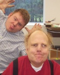 Jim (in red) clowning with friend Richie