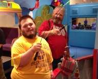 Ben and Gary try fishing at the Phelps Youth Pavilion