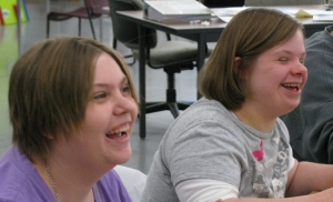 Friends Tabitha (left) and Jessica (right) have fun in the art room!